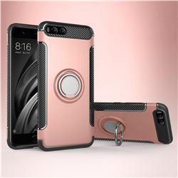 Armor Anti Drop Carbon PC + Silicon Invisible Ring Holder Phone Case for Xiaomi Mi 6 Mi6 - Rose Gold