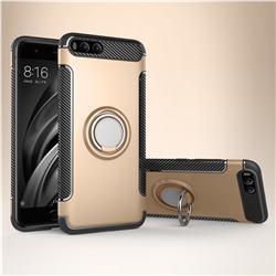 Armor Anti Drop Carbon PC + Silicon Invisible Ring Holder Phone Case for Xiaomi Mi 6 Mi6 - Champagne