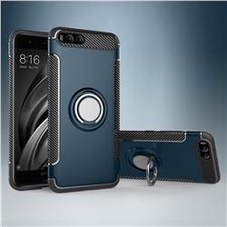 Armor Anti Drop Carbon PC + Silicon Invisible Ring Holder Phone Case for Xiaomi Mi 6 Mi6 - Navy