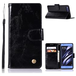 Luxury Retro Leather Wallet Case for Xiaomi Mi 6 Mi6 - Black