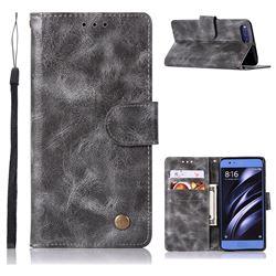 Luxury Retro Leather Wallet Case for Xiaomi Mi 6 Mi6 - Gray