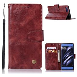 Luxury Retro Leather Wallet Case for Xiaomi Mi 6 Mi6 - Wine Red