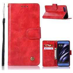 Luxury Retro Leather Wallet Case for Xiaomi Mi 6 Mi6 - Red