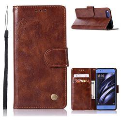 Luxury Retro Leather Wallet Case for Xiaomi Mi 6 Mi6 - Brown