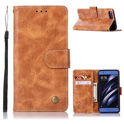 Luxury Retro Leather Wallet Case for Xiaomi Mi 6 Mi6 - Golden