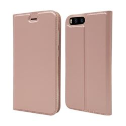 Ultra Slim Card Magnetic Automatic Suction Leather Wallet Case for Xiaomi Mi 6 Mi6 - Rose Gold