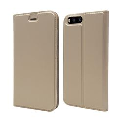 Ultra Slim Card Magnetic Automatic Suction Leather Wallet Case for Xiaomi Mi 6 Mi6 - Champagne