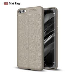 Luxury Auto Focus Litchi Texture Silicone TPU Back Cover for Xiaomi Mi 6 Plus - Gray