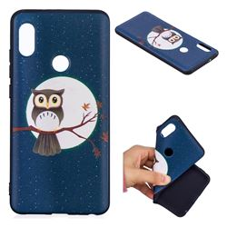 Moon and Owl 3D Embossed Relief Black Soft Back Cover for Xiaomi Mi A2 (Mi 6X)