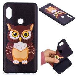 Big Owl 3D Embossed Relief Black Soft Back Cover for Xiaomi Mi A2 (Mi 6X)