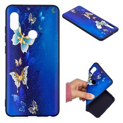 Golden Butterflies 3D Embossed Relief Black Soft Back Cover for Xiaomi Mi A2 (Mi 6X)