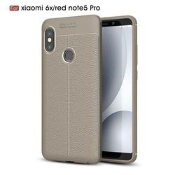 Luxury Auto Focus Litchi Texture Silicone TPU Back Cover for Xiaomi Mi A2 (Mi 6X) - Gray
