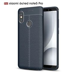 Luxury Auto Focus Litchi Texture Silicone TPU Back Cover for Xiaomi Mi A2 (Mi 6X) - Dark Blue