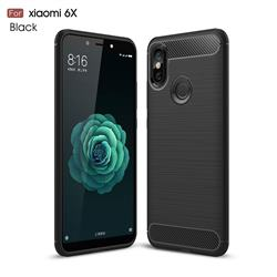 Luxury Carbon Fiber Brushed Wire Drawing Silicone TPU Back Cover for Xiaomi Mi A2 (Mi 6X) - Black