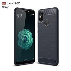 Luxury Carbon Fiber Brushed Wire Drawing Silicone TPU Back Cover for Xiaomi Mi A2 (Mi 6X) - Navy