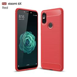 Luxury Carbon Fiber Brushed Wire Drawing Silicone TPU Back Cover for Xiaomi Mi A2 (Mi 6X) - Red