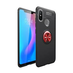 Auto Focus Invisible Ring Holder Soft Phone Case for Xiaomi Mi A2 (Mi 6X) - Black Red