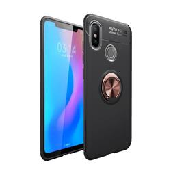 Auto Focus Invisible Ring Holder Soft Phone Case for Xiaomi Mi A2 (Mi 6X) - Black Gold