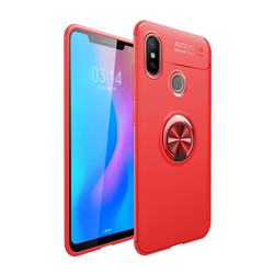 Auto Focus Invisible Ring Holder Soft Phone Case for Xiaomi Mi A2 (Mi 6X) - Red