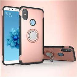 Armor Anti Drop Carbon PC + Silicon Invisible Ring Holder Phone Case for Xiaomi Mi A2 (Mi 6X) - Rose Gold