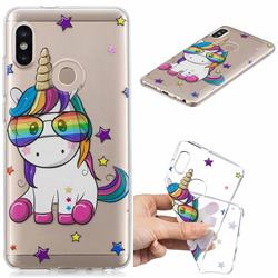 Glasses Unicorn Clear Varnish Soft Phone Back Cover for Xiaomi Mi A2 (Mi 6X)
