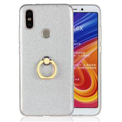 Luxury Soft TPU Glitter Back Ring Cover with 360 Rotate Finger Holder Buckle for Xiaomi Mi A2 (Mi 6X) - White