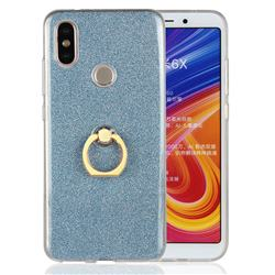 Luxury Soft TPU Glitter Back Ring Cover with 360 Rotate Finger Holder Buckle for Xiaomi Mi A2 (Mi 6X) - Blue