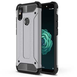 King Kong Armor Premium Shockproof Dual Layer Rugged Hard Cover for Xiaomi Mi A2 (Mi 6X) - Silver Grey