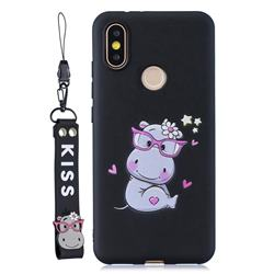 Black Flower Hippo Soft Kiss Candy Hand Strap Silicone Case for Xiaomi Mi A2 (Mi 6X)
