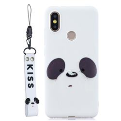 White Feather Panda Soft Kiss Candy Hand Strap Silicone Case for Xiaomi Mi A2 (Mi 6X)