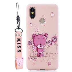 Pink Flower Bear Soft Kiss Candy Hand Strap Silicone Case for Xiaomi Mi A2 (Mi 6X)