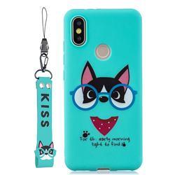 Green Glasses Dog Soft Kiss Candy Hand Strap Silicone Case for Xiaomi Mi A2 (Mi 6X)