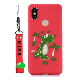 Red Dinosaur Soft Kiss Candy Hand Strap Silicone Case for Xiaomi Mi A2 (Mi 6X)