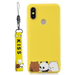 Yellow Bear Family Soft Kiss Candy Hand Strap Silicone Case for Xiaomi Mi A2 (Mi 6X)