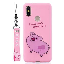 Pink Cute Pig Soft Kiss Candy Hand Strap Silicone Case for Xiaomi Mi A2 (Mi 6X)