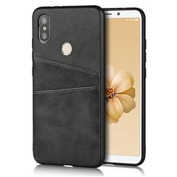 Simple Calf Card Slots Mobile Phone Back Cover for Xiaomi Mi A2 (Mi 6X) - Black