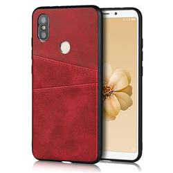 Simple Calf Card Slots Mobile Phone Back Cover for Xiaomi Mi A2 (Mi 6X) - Red