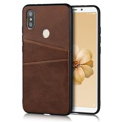 Simple Calf Card Slots Mobile Phone Back Cover for Xiaomi Mi A2 (Mi 6X) - Coffee