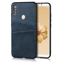 Simple Calf Card Slots Mobile Phone Back Cover for Xiaomi Mi A2 (Mi 6X) - Blue