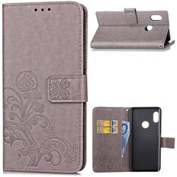Embossing Imprint Four-Leaf Clover Leather Wallet Case for Xiaomi Mi A2 (Mi 6X) - Grey