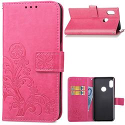 Embossing Imprint Four-Leaf Clover Leather Wallet Case for Xiaomi Mi A2 (Mi 6X) - Rose