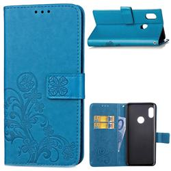 Embossing Imprint Four-Leaf Clover Leather Wallet Case for Xiaomi Mi A2 (Mi 6X) - Blue