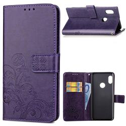 Embossing Imprint Four-Leaf Clover Leather Wallet Case for Xiaomi Mi A2 (Mi 6X) - Purple
