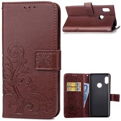 Embossing Imprint Four-Leaf Clover Leather Wallet Case for Xiaomi Mi A2 (Mi 6X) - Brown