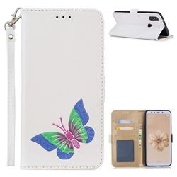 Imprint Embossing Butterfly Leather Wallet Case for Xiaomi Mi A2 (Mi 6X) - White