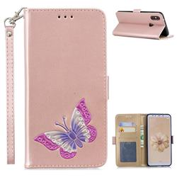 Imprint Embossing Butterfly Leather Wallet Case for Xiaomi Mi A2 (Mi 6X) - Rose Gold
