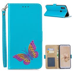 Imprint Embossing Butterfly Leather Wallet Case for Xiaomi Mi A2 (Mi 6X) - Sky Blue