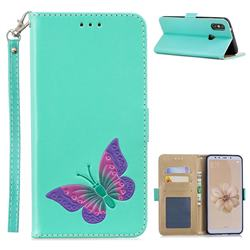 Imprint Embossing Butterfly Leather Wallet Case for Xiaomi Mi A2 (Mi 6X) - Mint Green