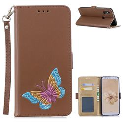 Imprint Embossing Butterfly Leather Wallet Case for Xiaomi Mi A2 (Mi 6X) - Brown