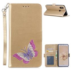 Imprint Embossing Butterfly Leather Wallet Case for Xiaomi Mi A2 (Mi 6X) - Golden